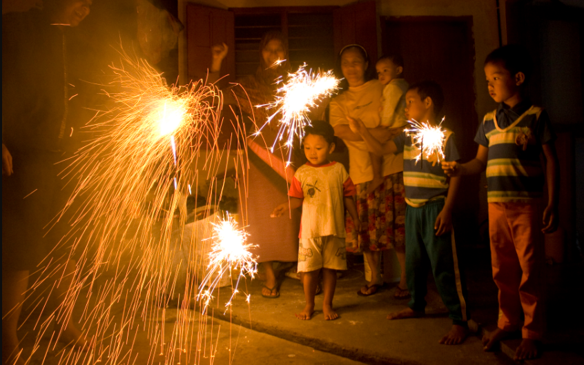 Physics Behind Fireworks Bending